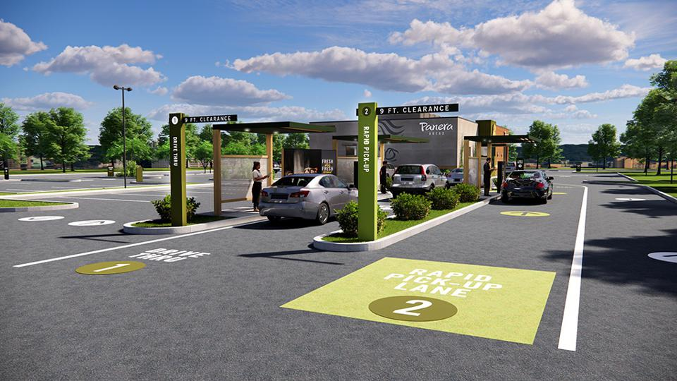 Panera's new restaurants will include dual drive-thru lanes.