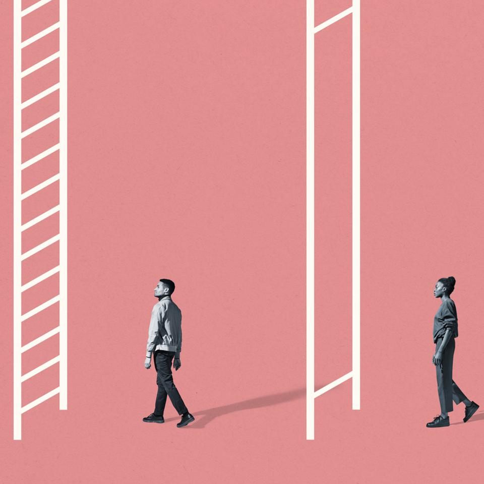 Young man and woman walking towards white ladders