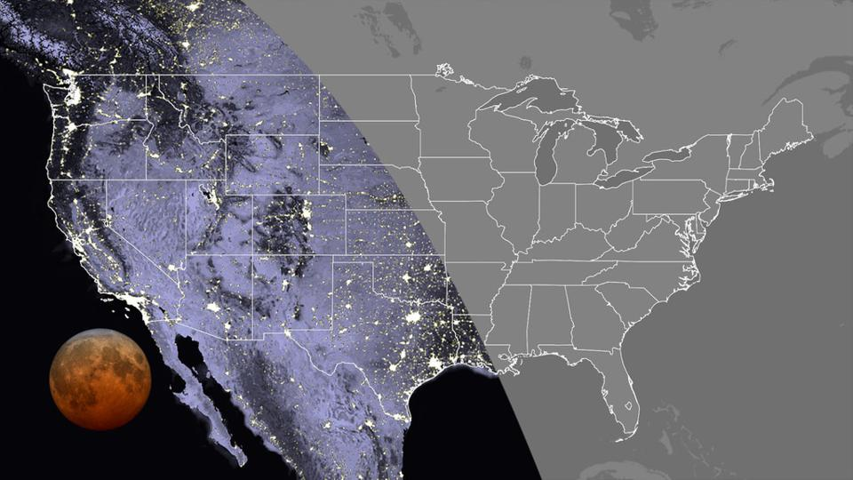 Visibility of the total phase in the contiguous U.S., at 11:11 UTC. Totality can be seen everywhere in the Pacific and Mountain time zones, along with Texas, Oklahoma, western Kansas, Hawaii and Alaska.