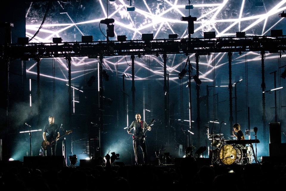 The icelandic post-rock band Sigur Rós pictured on stage as...