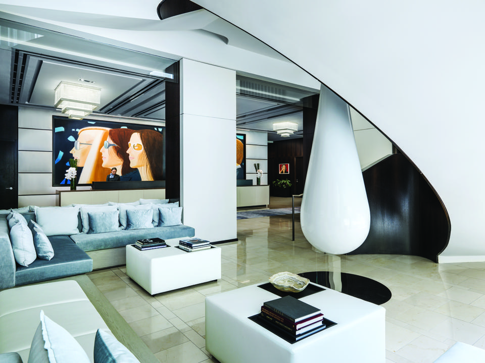 The lobby of the Langham hotel in New York City has eye-catching art and modern design