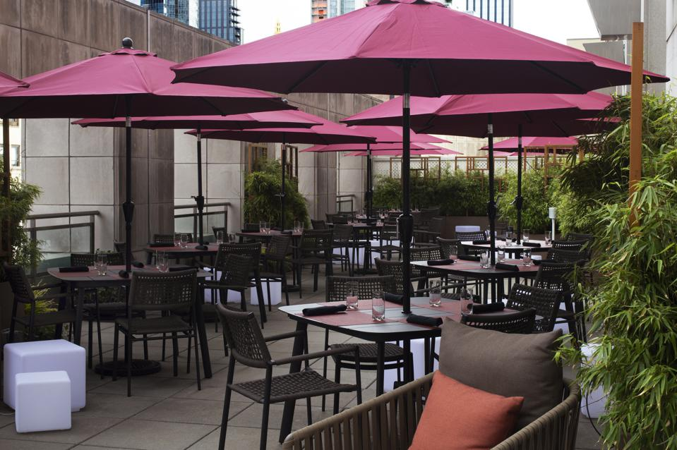 At Ai Fiori's Sky Terrace at the Langham hotel in New York, dining tables are on the roof