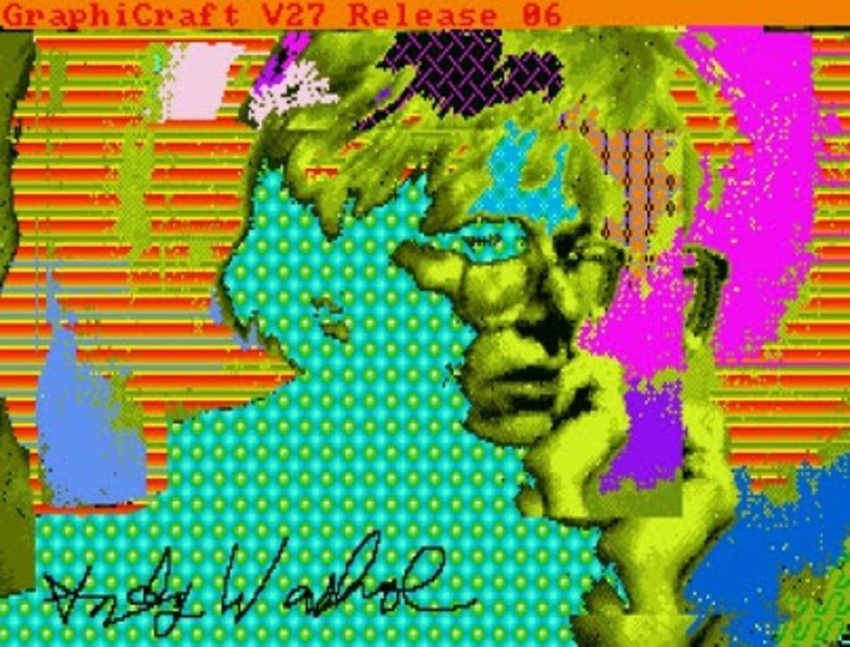Self portrait of Andy Warhol from a floppy disk.