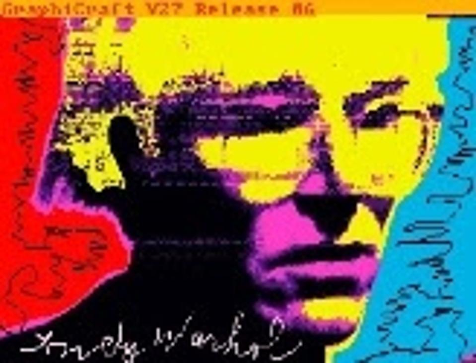 Auto-retrato digital de Andy Warhol em disquete.