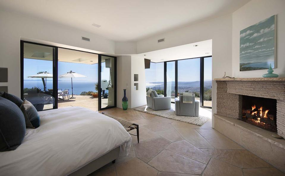 bedroom inside modern adobe 560 Toro Canyon Park Road Carpinteria, CA