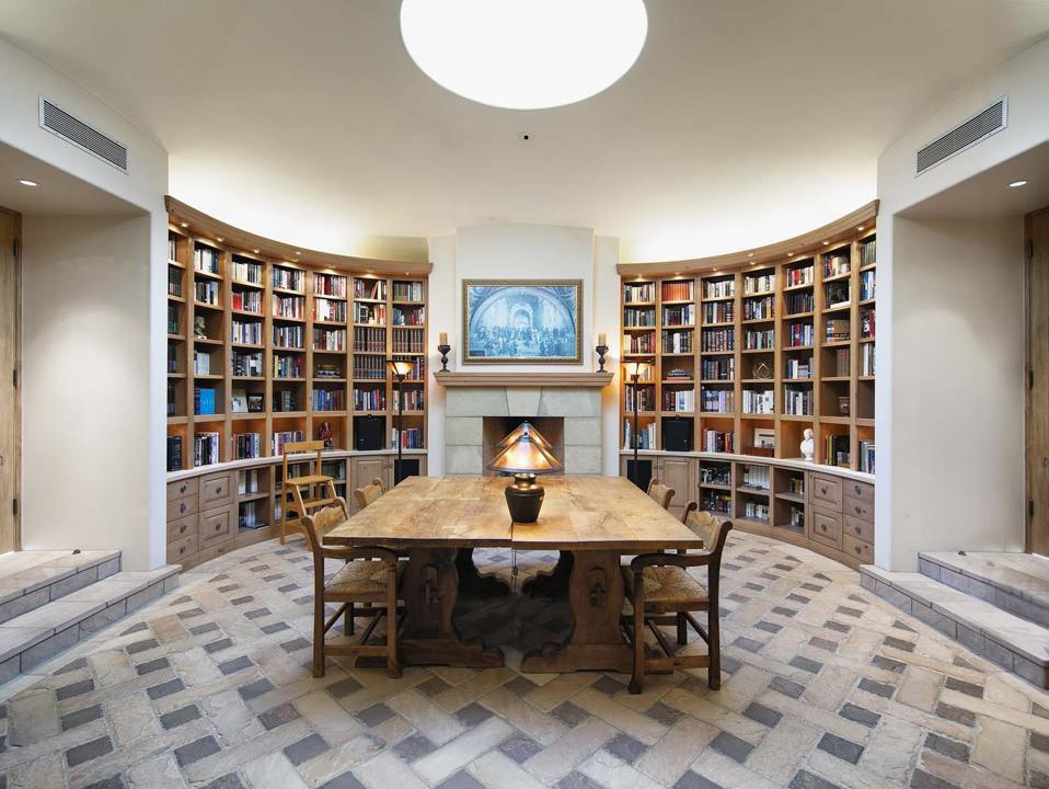 custom circular library reading room at 560 Toro Canyon Park Road Carpinteria, CA