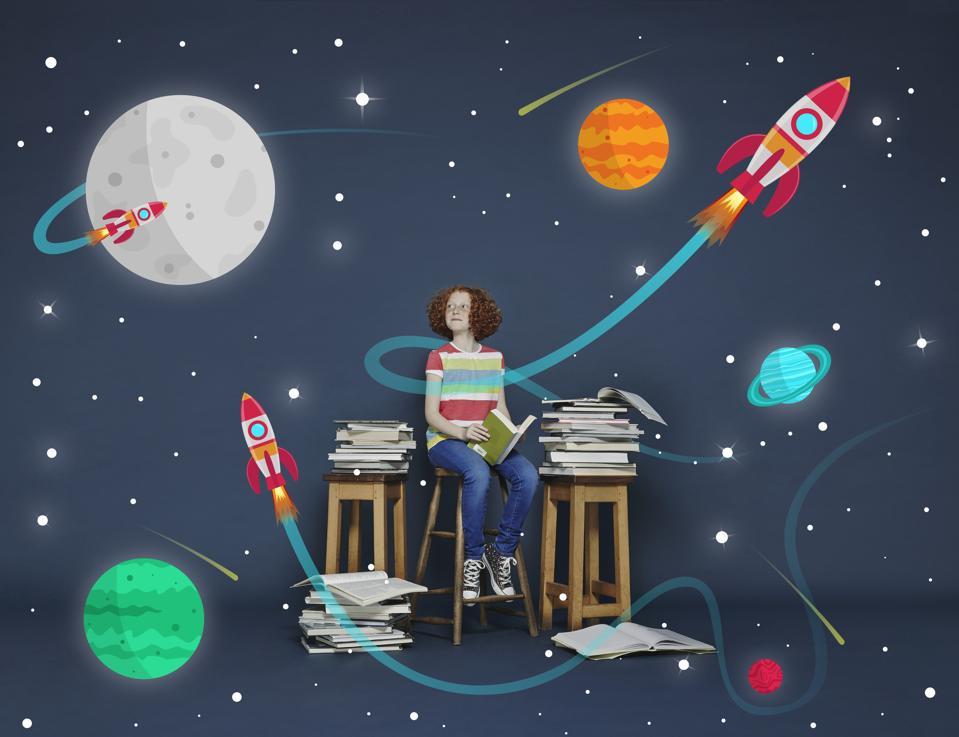 Girl reading books. Cartoon space scene