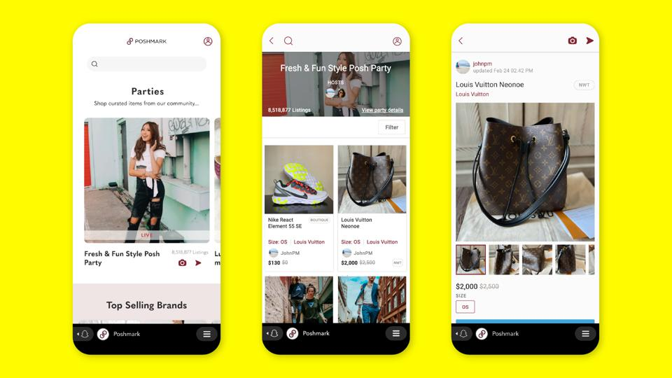 Poshmark's partnership with Snapchat allows the latter's users to shop three different ways.