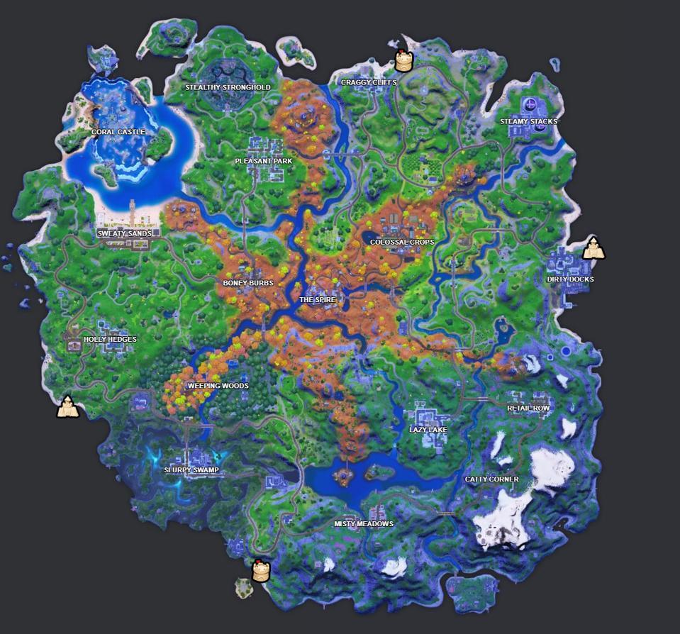 Mappa delle posizioni speciali del castello di sabbia di Fortnite