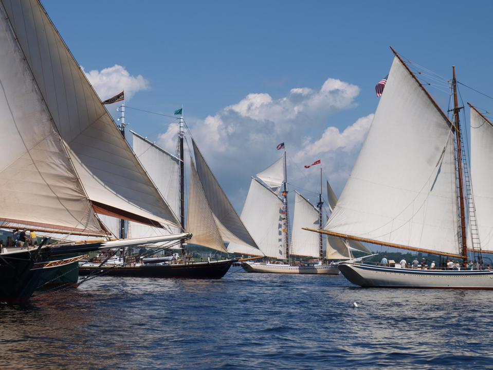 In the bay: Boats (from left to right) Stephen Taber, Windjammer Angelique, J & E Riggin, Heritage & American Eagle