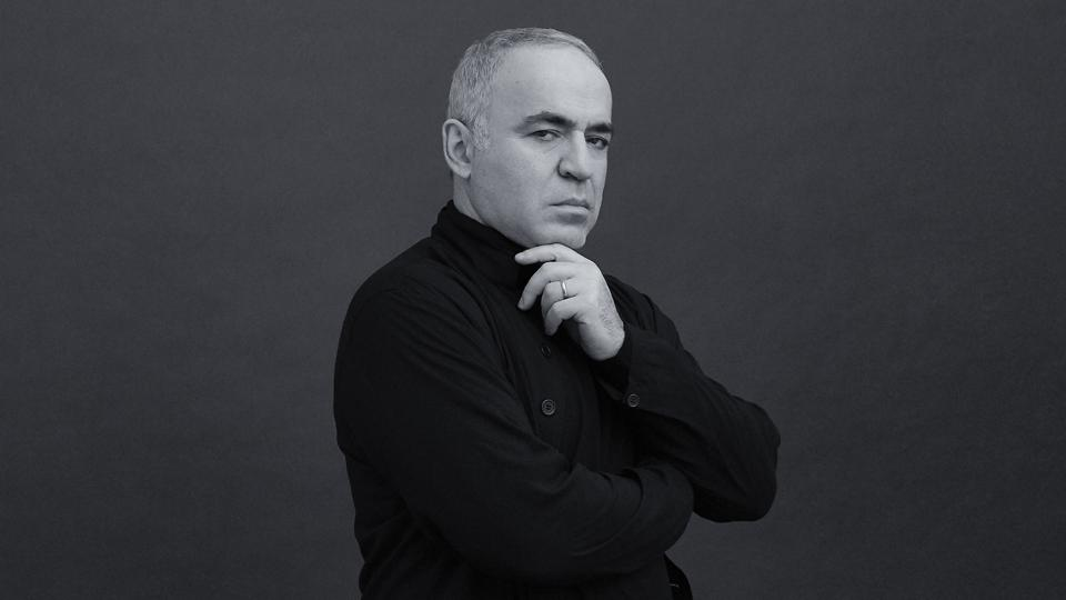 Garry Kasparov portrait in black and white