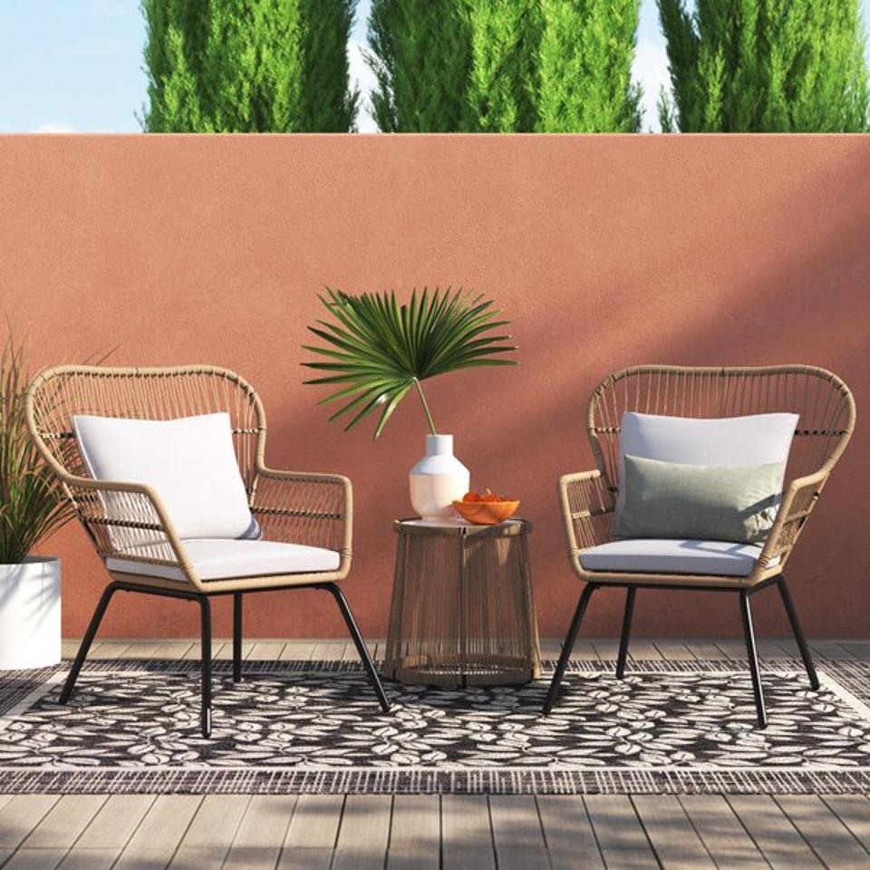 Bayou Breeze Alysa 3 Piece Rattan Seating Group with Cushions & Reviews | Wayfair