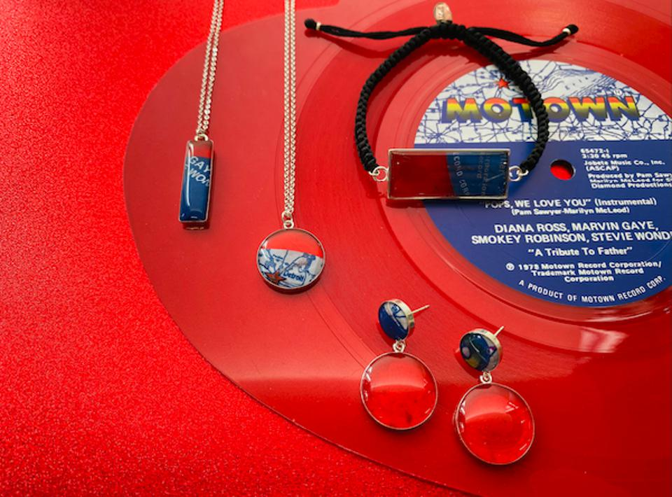 Limited-addition jewelry; made of repurposed red heart-shaped vinyl from an original Motown record.