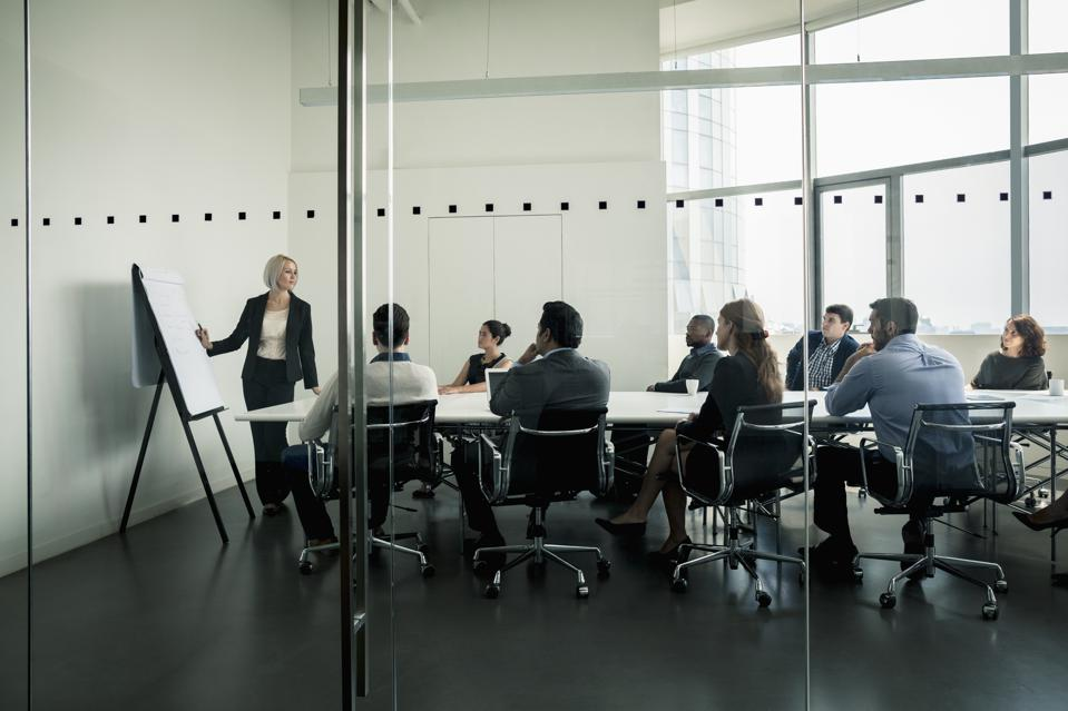 Businesswoman presenting in front of a group