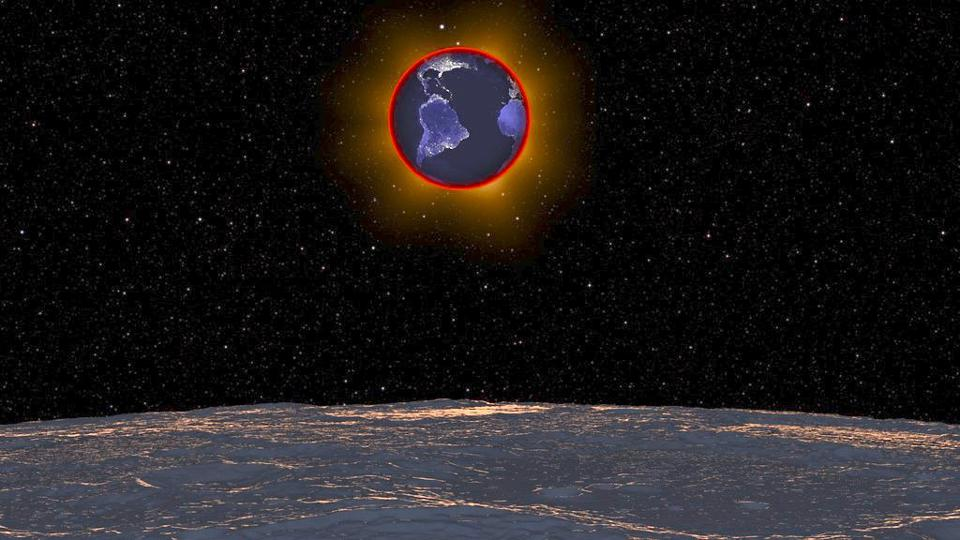 With the lunar horizon in the foreground, the Earth will pass in front of the Sun on Wednesday, May 26, 2021, revealing the red ring of sunrises and sunsets along the limb of the Earth.