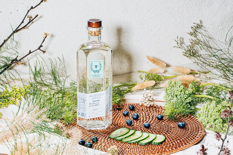a bottle of gin surrounded by blueberries and cucumber slices