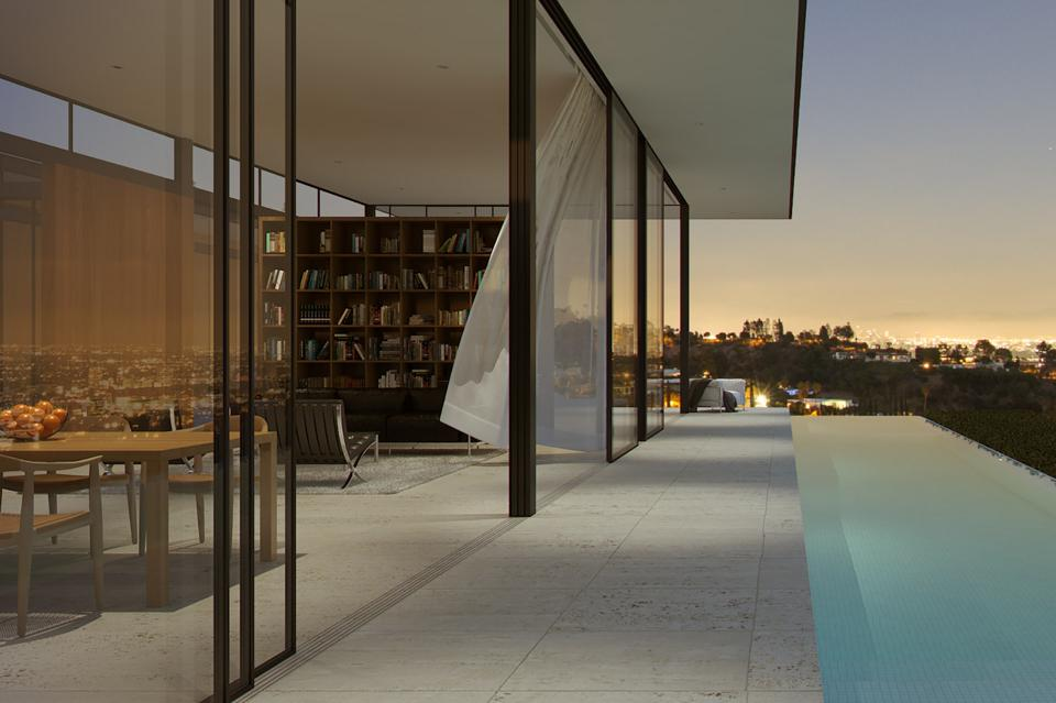 living room and pool at 1484 Carla Ridge in Beverly Hills