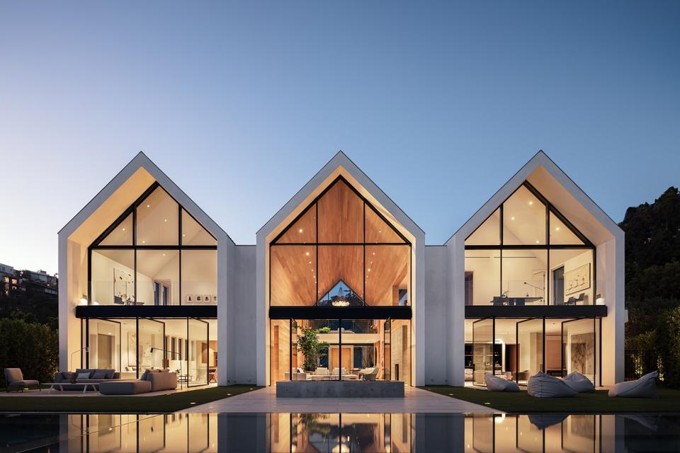 1471 Forest Knoll modern farmhouse walls of glass windows pool