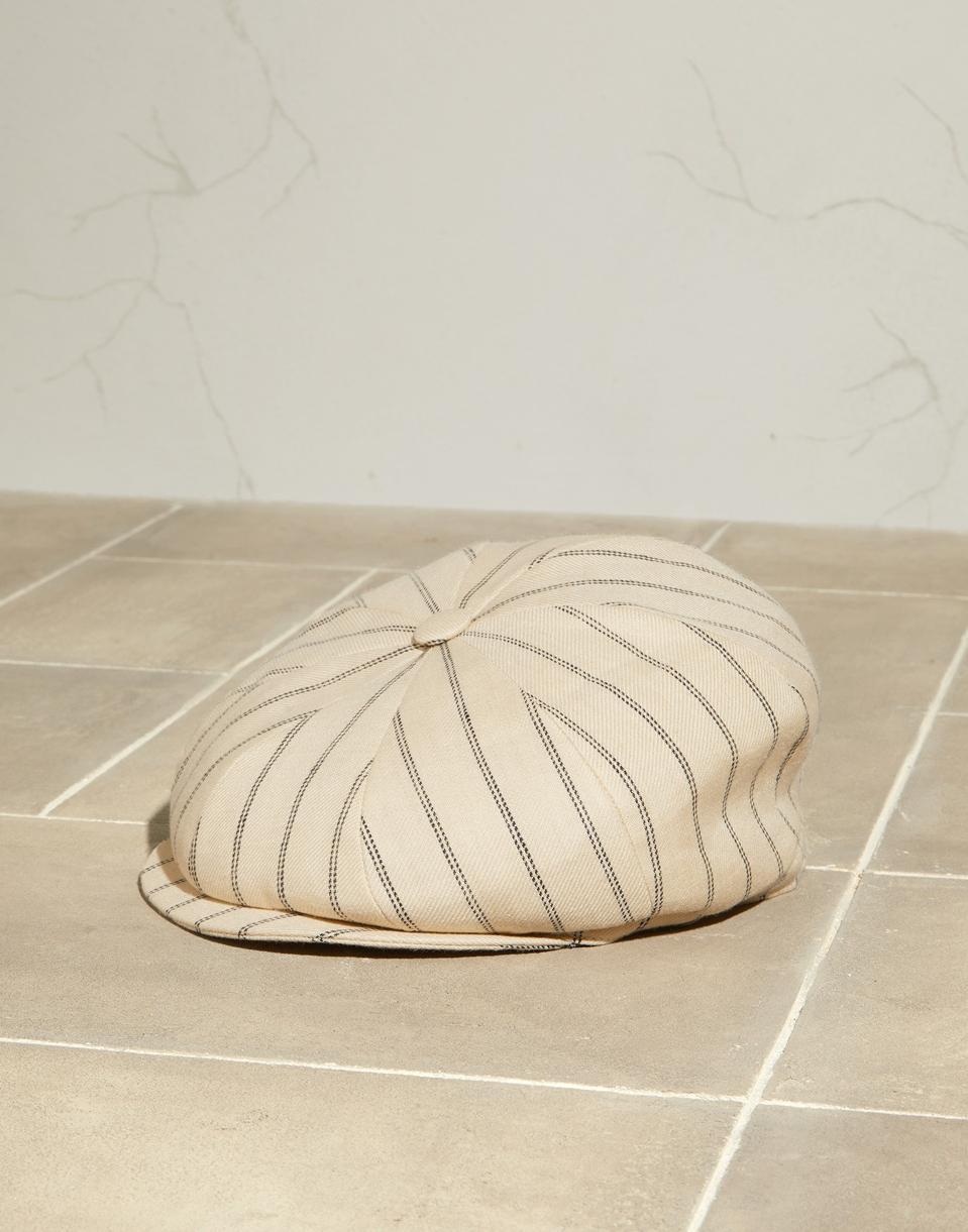 Linen double chalk stripe twill flat cap