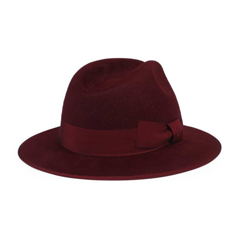 Red felt hat with bow