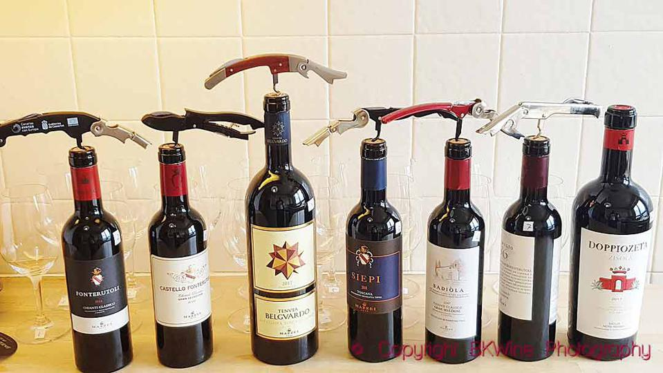 A selection of wines from Mazzei in Tuscany