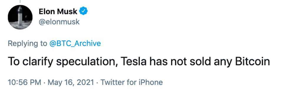 Elon Musk sobre Tesla Bitcoin Holdings