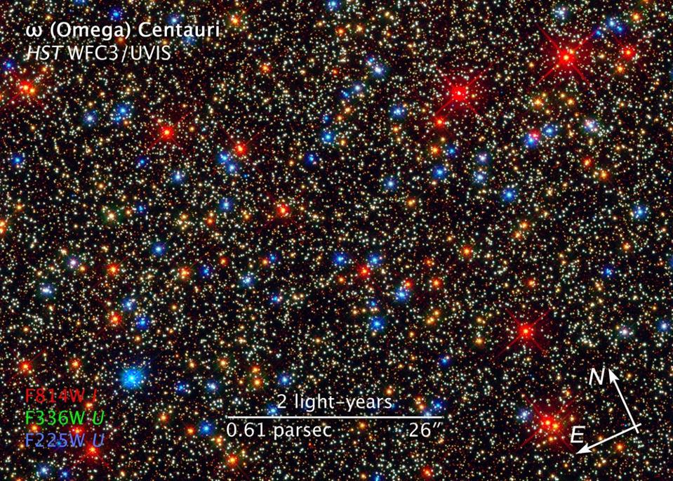 Globular clusters, like Omega Centauri, have the highest stellar densities ever observed.