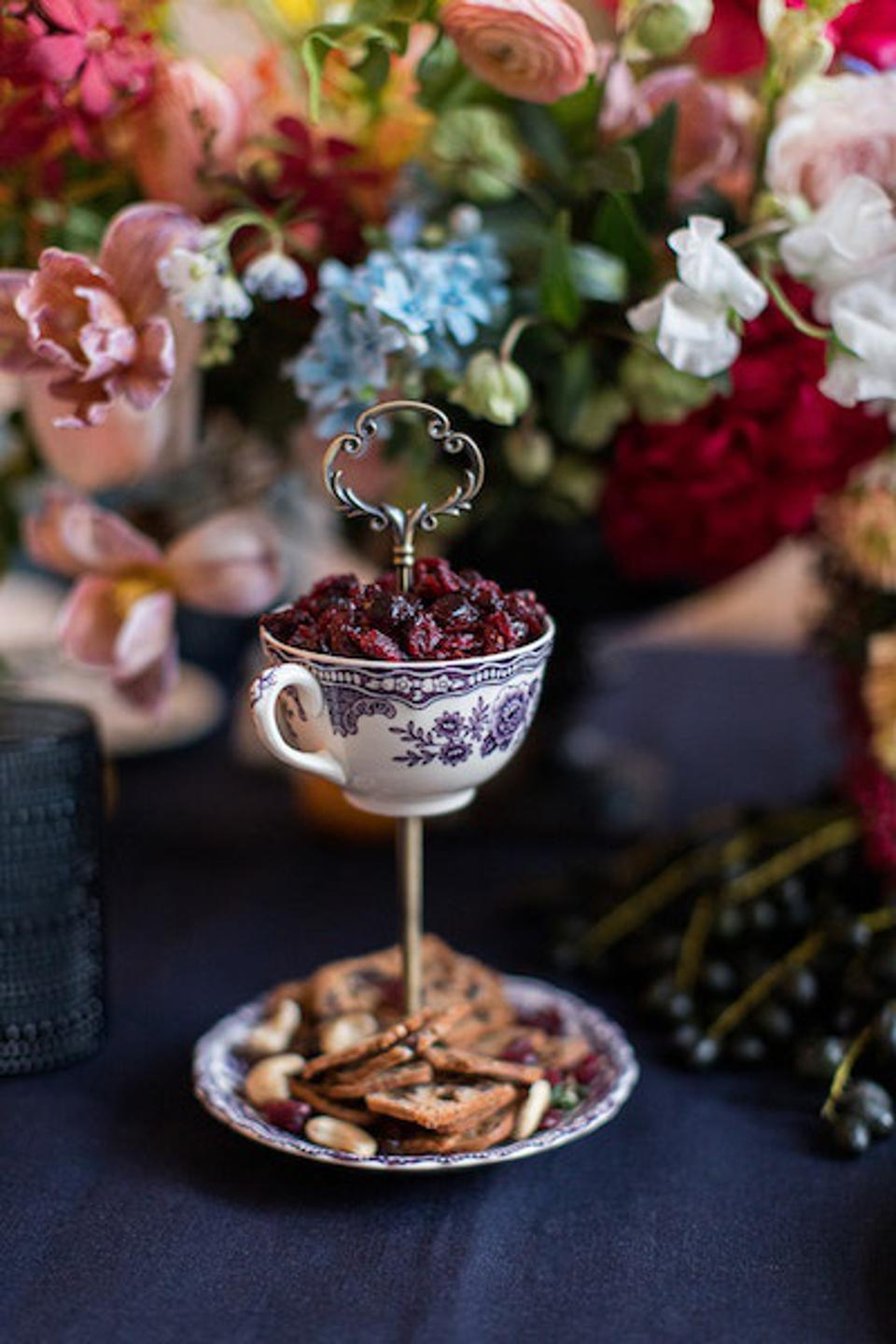 Upcycled china piece with nuts and dried cranberries
