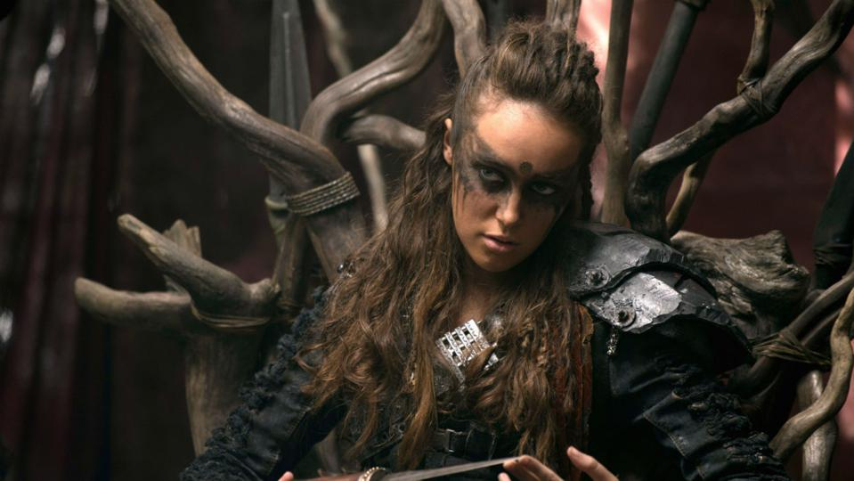 Lexa from the 100 sitting in her throne