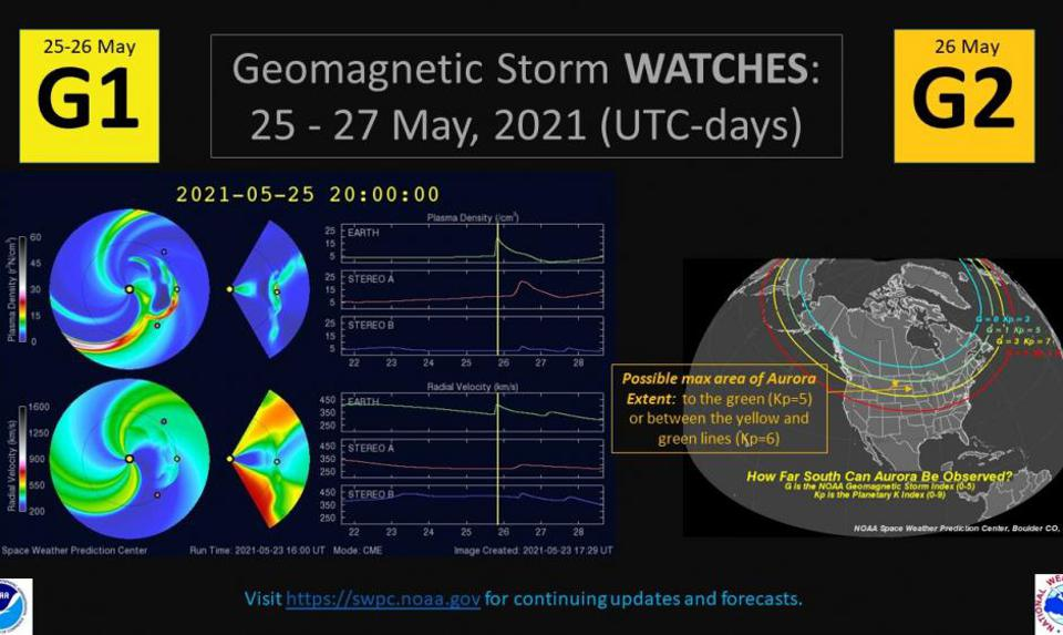 A G1 (Minor) geomagnetic storm watch has been issued for 25 May with a G2 (Moderate) watch for 26 May due to the arrival of multiple CMEs from 22-23 May associated with flare activity from active sunspot Region 2824.