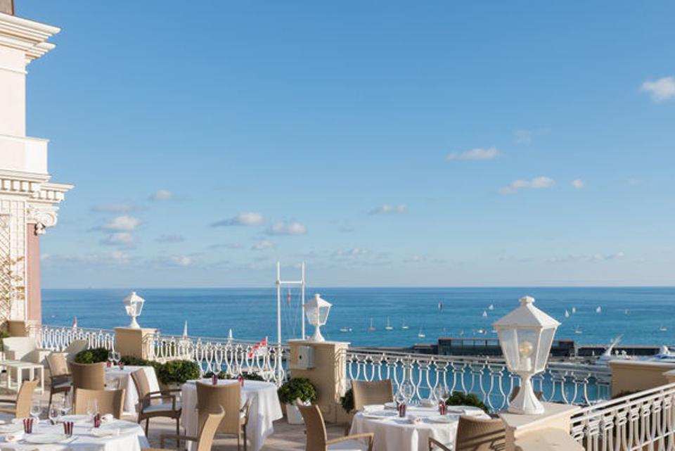 The terrace overlooking the sea at Yannick Alléno's Hermitage restaurant in Monte-Carlo.