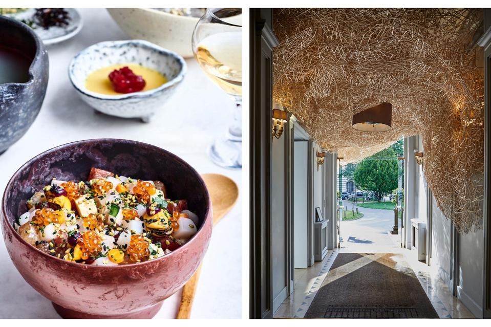 A dish at Yannick Alléno's two-star Abysse restaurant in Paris and the entrance.