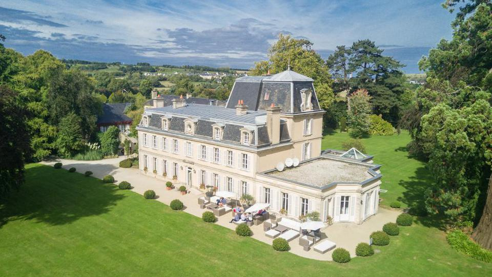 An aerial view of Chateau La Chenevière in Lower Normandy, France.