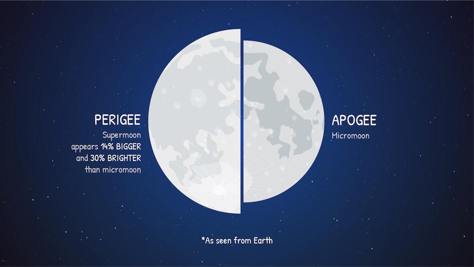 It's nearly impossible to compare the apparent size of the supermoon with a micromoon from memory, but when seen side-by-side as in this graphic, it becomes clear.