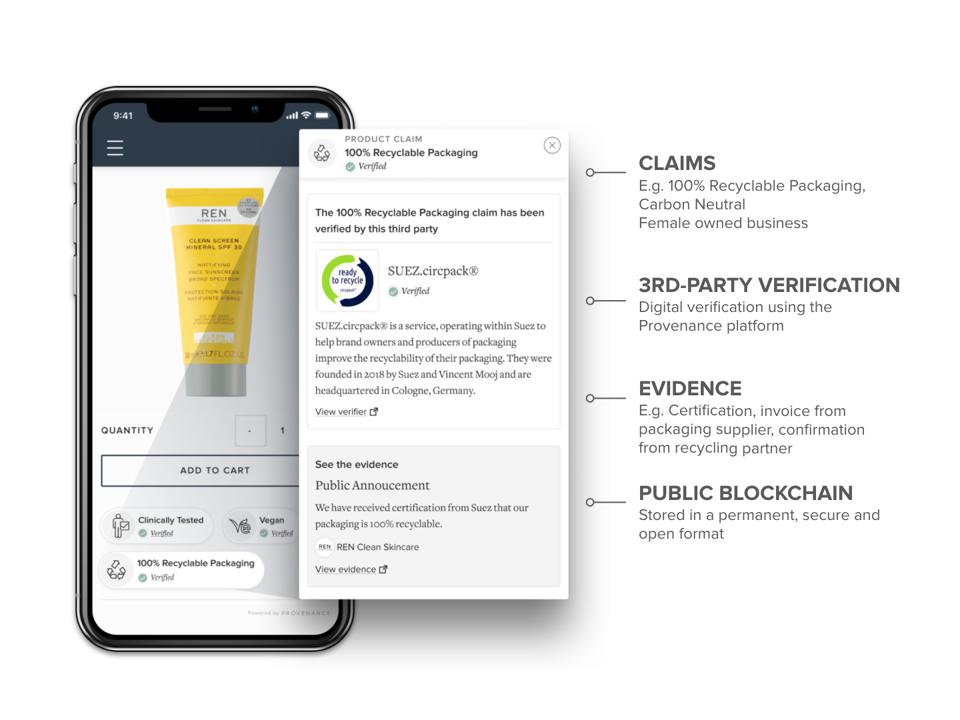 REN beauty product displayed on mobile phone, alongside detailed information about product.