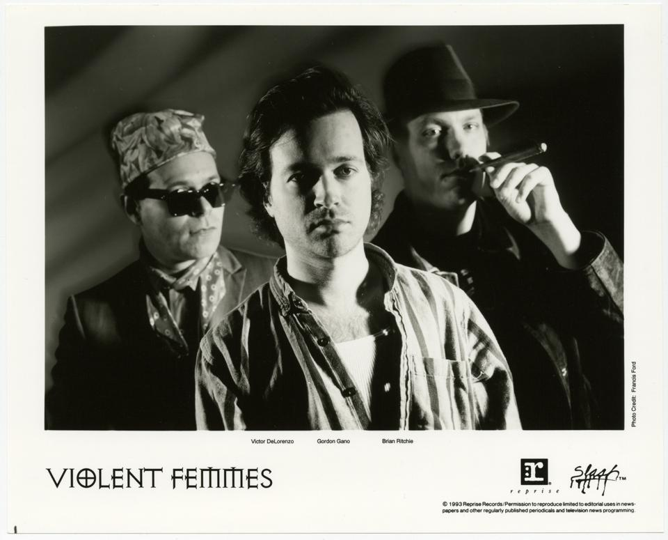 (Left to right) Co-founding Violent Femmes members Victor DeLorenzo, Gordon Gano and Brian Ritchie in 1993 (Photo by Francis Ford)