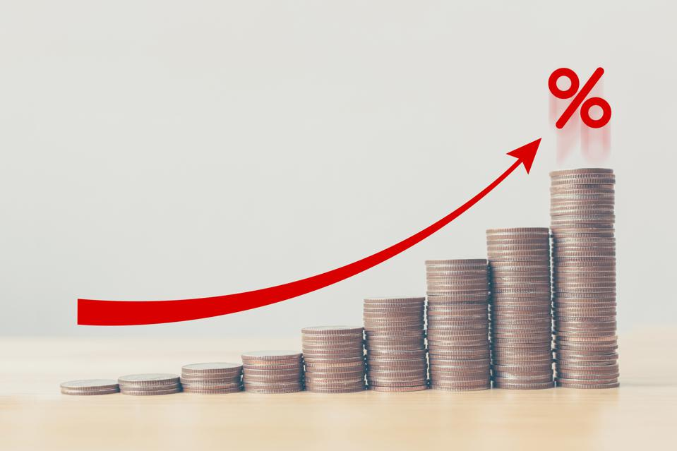 Coin stack increase graph with red arrow and percent icon, risk management concept, financial and investment interest rates