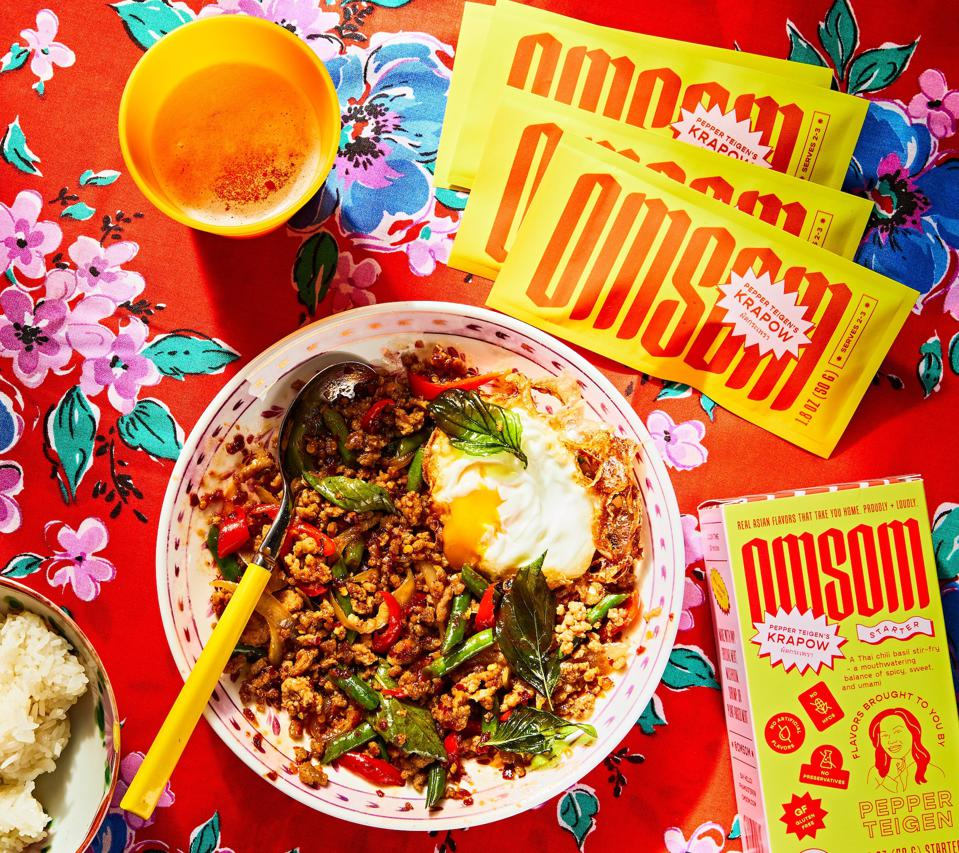 Omsom collaborated with Pepper Teigen on a popular Thai street food dish Krapow, which prominently features MSG.