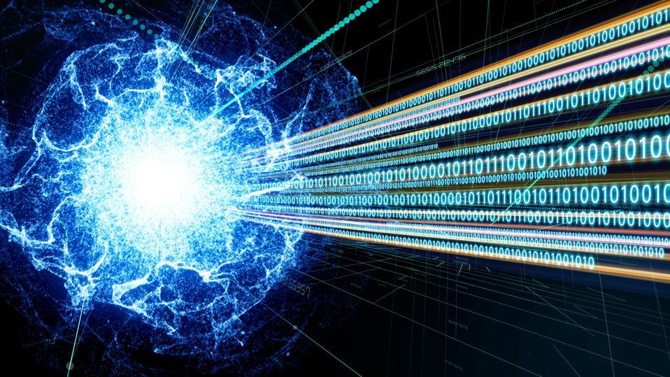 Quantum computing, digital communication network, technology abstract.