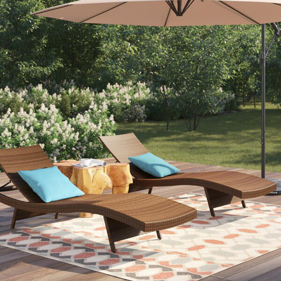 Memorial day patio furniture sales: Gold Flamingo Mirabel 79'' Long Reclining Chaise Lounge Set & Reviews   Wayfair