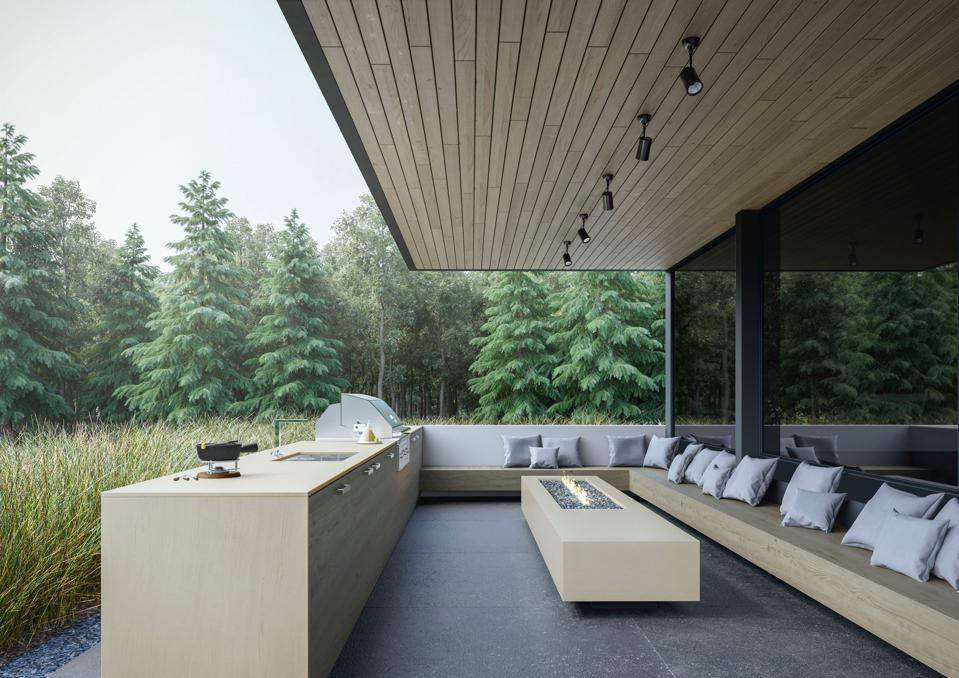 Outdoor living space with kitchen and seating area