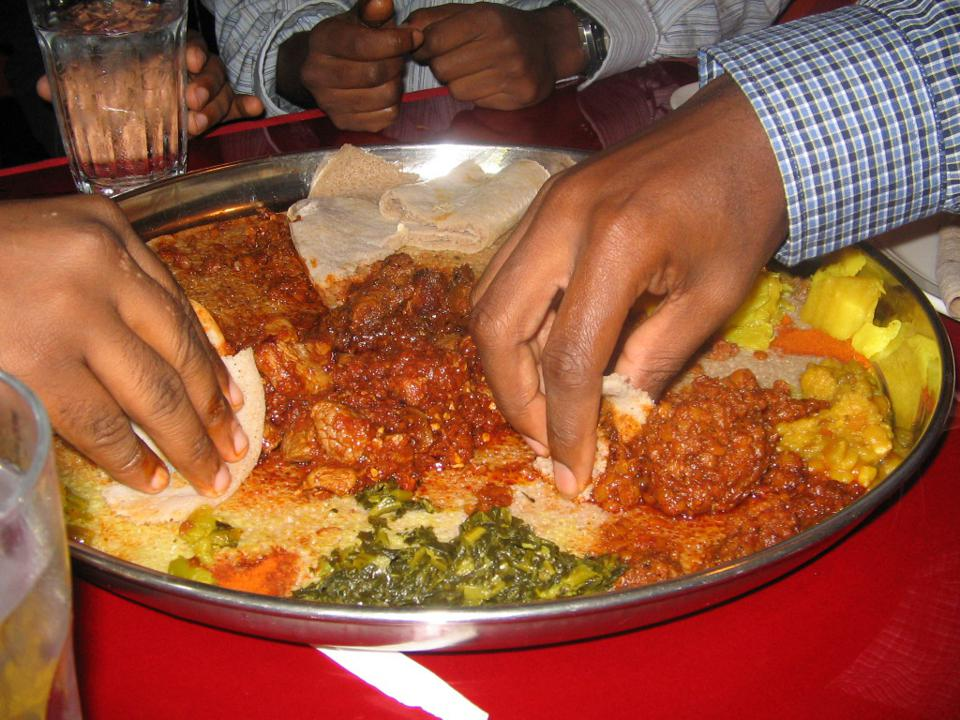 A plate of Ethiopian food.