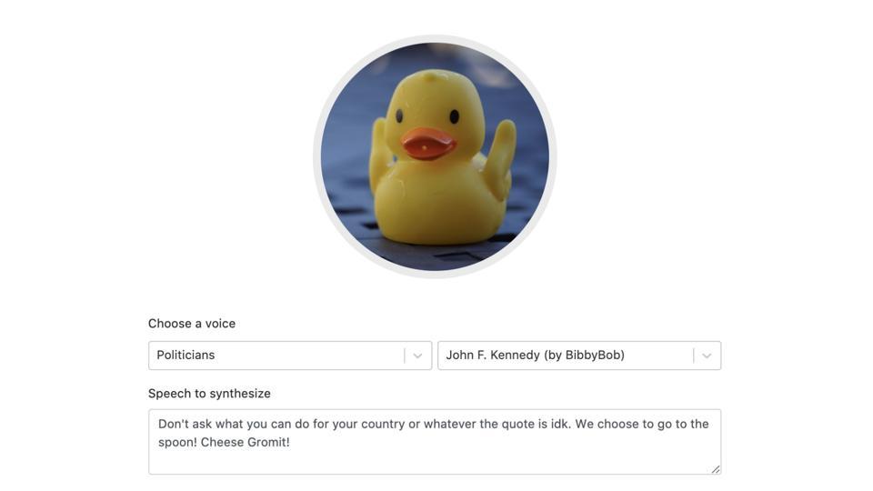 Un exemple de l'une des voix de célébrités d'Uberduck.ai qui est devenue virale sur TikTok et Twitter.