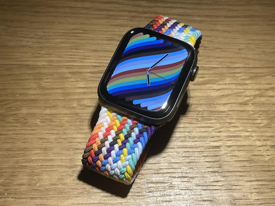 The cool full-face Pride Watch colors.