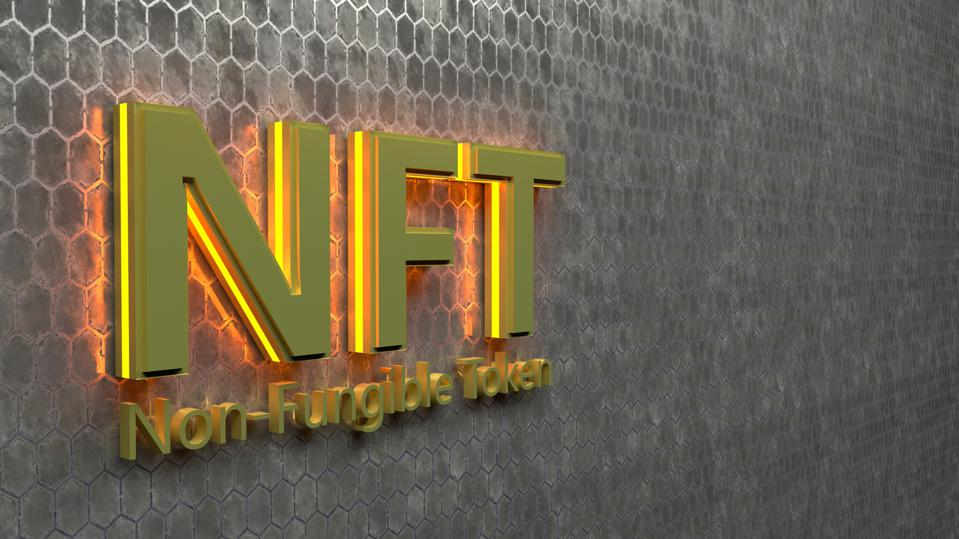 Golden NFT Crypto Art currency concept. Non Fungible Token with light flashing on dark gold abstract background. 3d Render seamless loop.