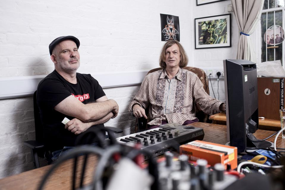 Matt Black and Jonathan More of Coldcut and Ninja Tune in their London Studio