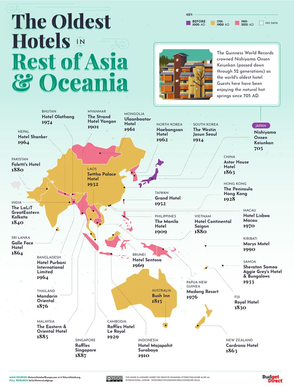 Map of Asia and Oceania showing the oldest hotels in each country