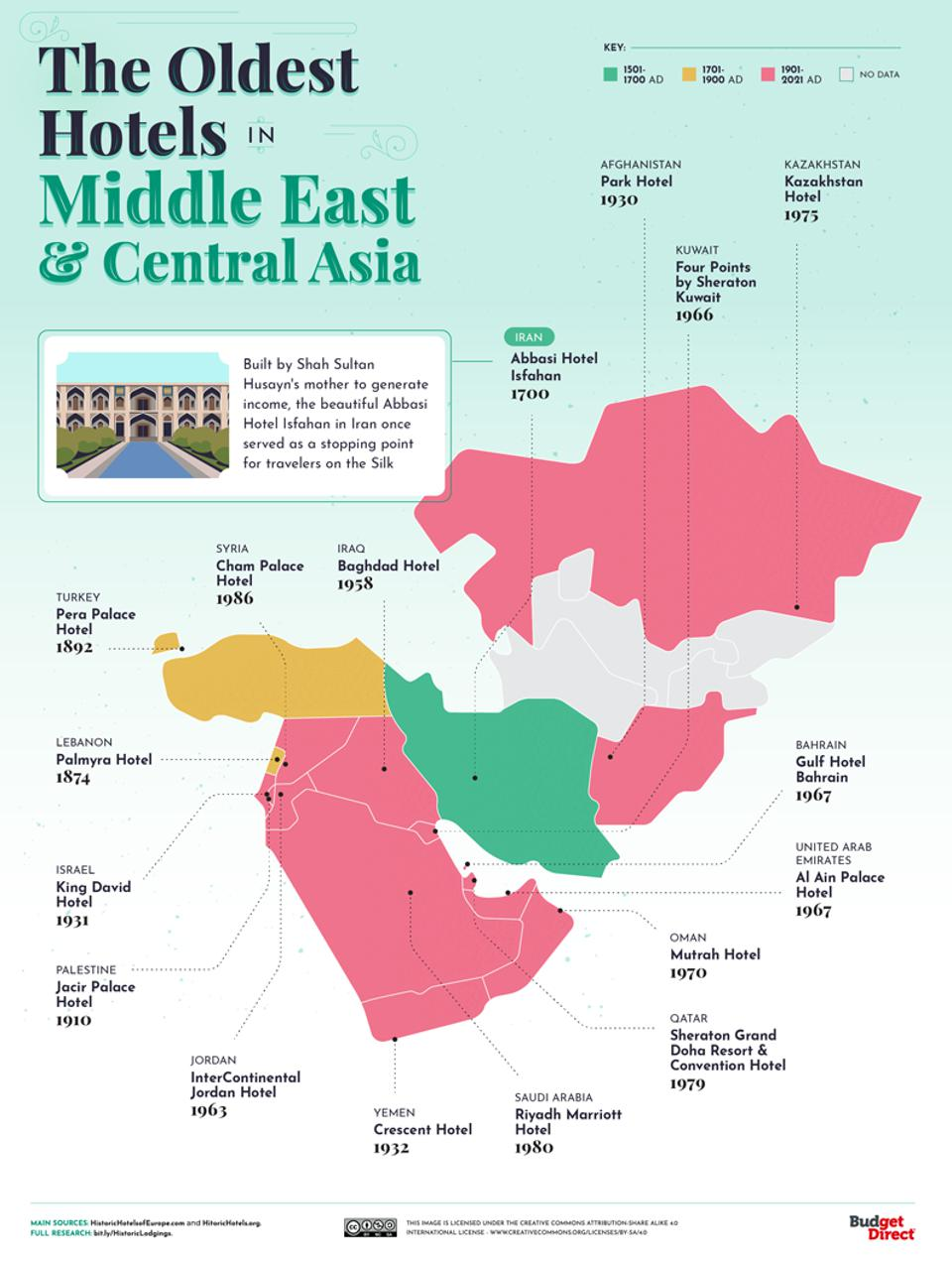 A map of the oldest hotels in the Middle East and Central Asia.
