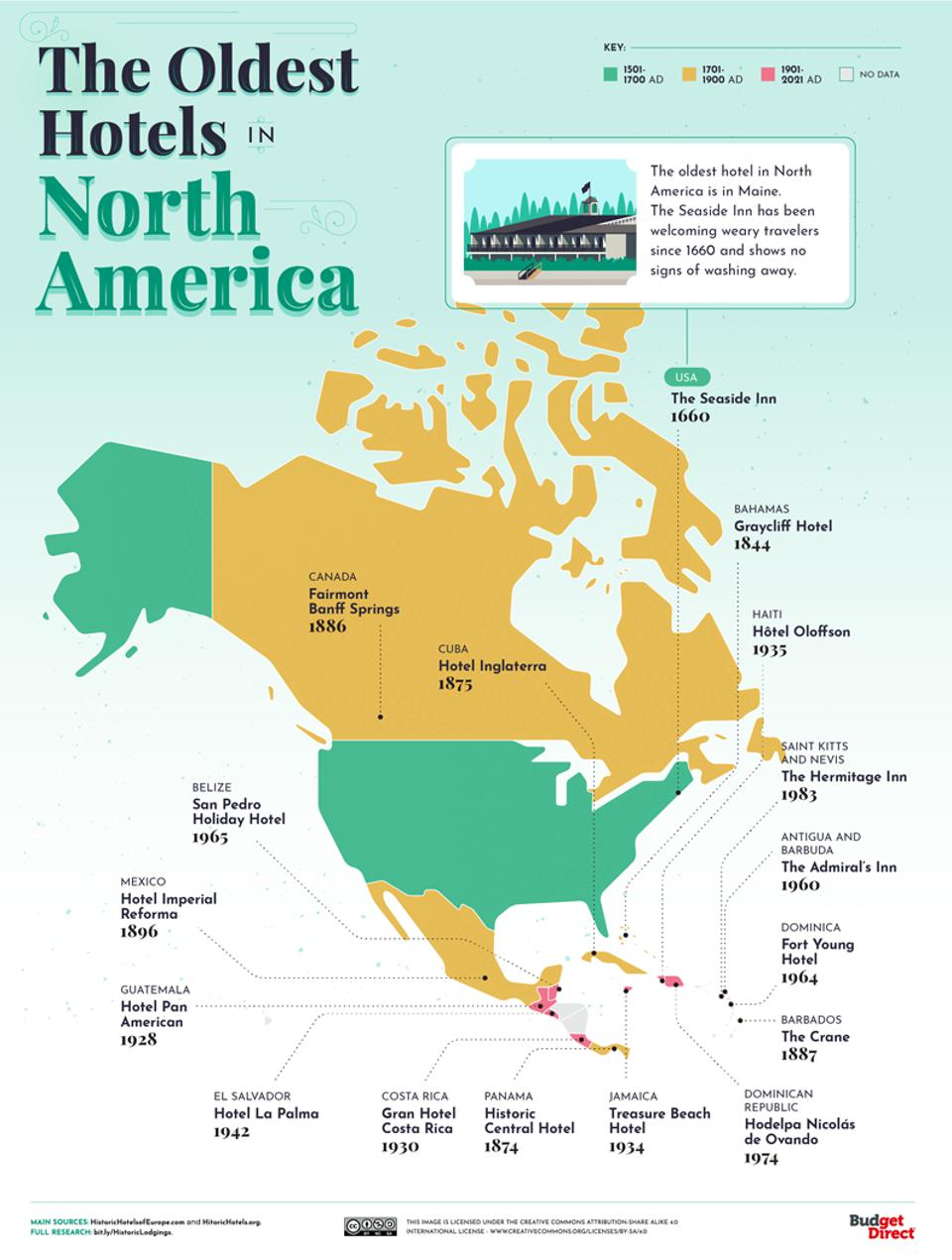 A map of the oldest hotels in the North America.