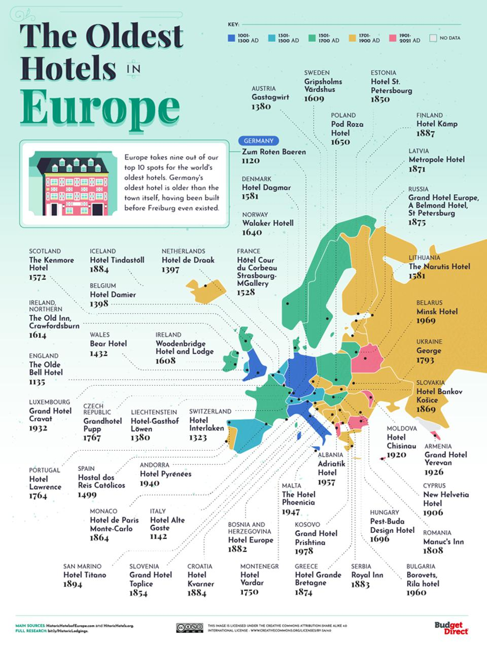A map of the oldest hotels in Europe.